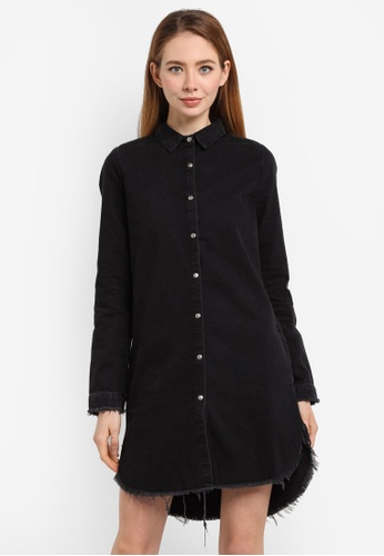 River Island black Long Sleeve Shirt Dress FE3D1AAE52A3E3GS_1