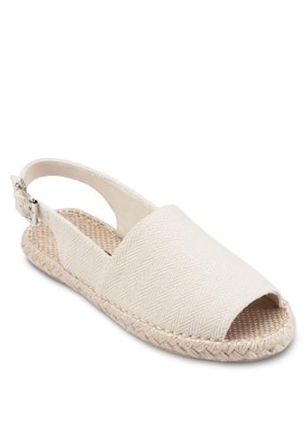 PLAY! Brooke 暗紋布料麻編涼鞋, 女鞋,esprit 兼職 鞋