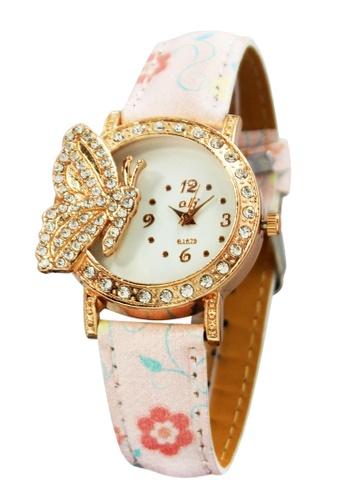 World of Watches pink OLJ Golden Butterfly  Leather Strap Watch B1679 WO566AC92MVZPH_1
