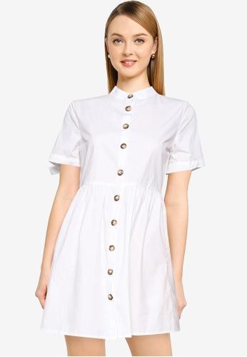 MISSGUIDED white Tie Cuff Poplin Shirt Dress 9CAE6AAFE6EFF2GS_1