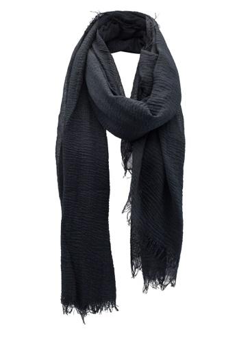 Dressing Paula black Solid Color Rectangle Scarf With Frayed Hem 17BDDAA77077D3GS_1
