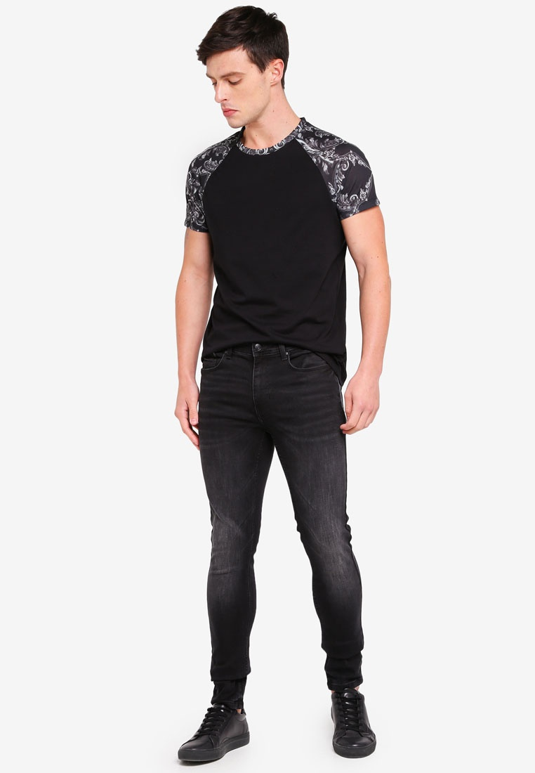 Baroque Shirt Black Raglan Black Silver Menswear London T Burton And qwZEBZWf
