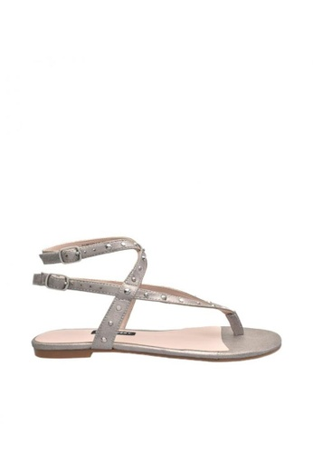 Nine West grey and silver NWSIMCHA Ankle Strap Sandals 38C59SHE7DA3B9GS_1