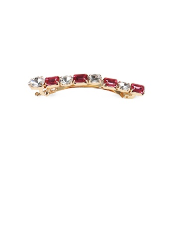 Glamorousky red Fashion and Simple Plated Gold Geometric Hair Clip with Red Cubic Zirconia 73FE5AC01E526EGS_1