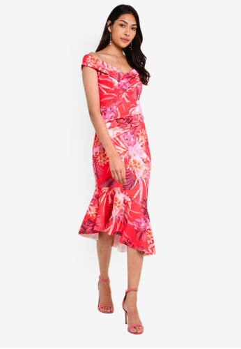 af1c2b404df92a Lipsy red Red Tiger Lily Printed Scuba Bodycon Dress 84694AAB57118FGS_1