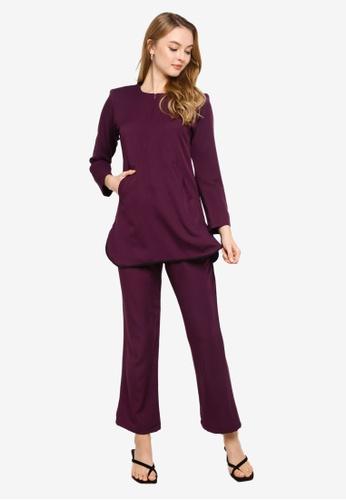 Butik Sireh Pinang purple Latifa Blouse Pocket Suit 3F61CAAF15B62AGS_1