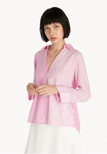 Pomelo pink Striped Oversized V Neck Button Up - Pink 53D23AA1DD5FEDGS_1