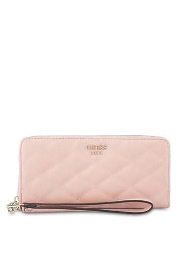 Guess pink Penelope Sling Large Zip Around Purse 64F6DACF86F3BFGS_1