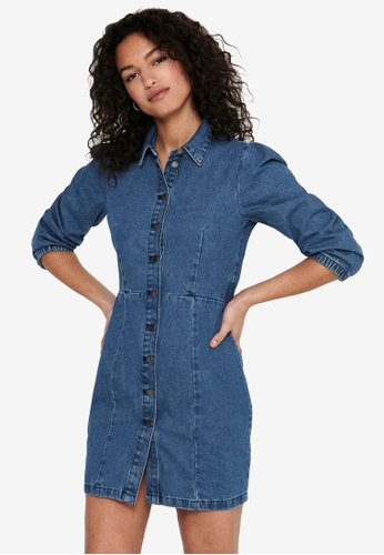 JACQUELINE DE YONG blue Athena 7/8 Dress 2C03DAA69B1B63GS_1