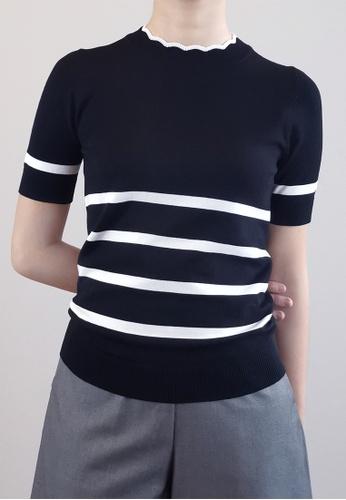 SUB black Women Stripe Pattern Knit Top D6911AA98162D9GS_1