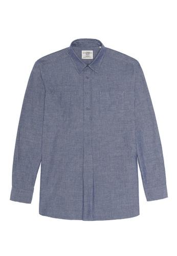 Kent and Curwen Cotton Melange Frayed Half Button-Up Shirt 93C54AA2EC75B7GS_1