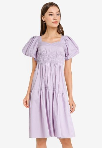 Urban Revivo purple Puff Sleeve Midi Dress 876C2AA51A4C44GS_1