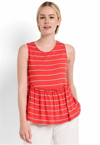 Max Studio orange Knit Sleeveless Ruffle Flounce Top MA703AA21NPEMY_1
