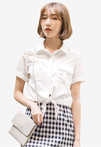 Tokichoi white Ribbon Knot Buttoned Up Shirt 1C472AA96C832CGS_1