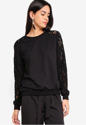 ZALORA black Lace Panel Sweatshirt 9F147AA1592D50GS_1
