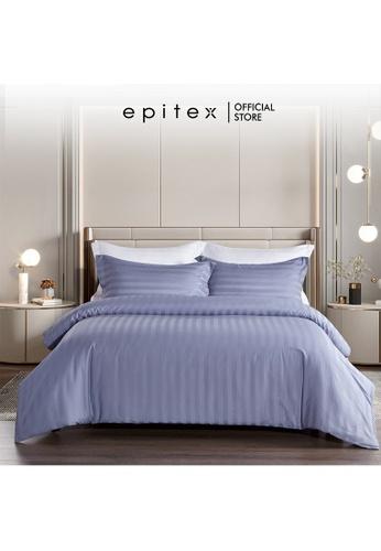 Epitex lilac purple Epitex Supima Cotton 1200TC Bedsheet - Quilt Cover Set - w quilt cover (Blue Ash) 94939HLADB1596GS_1