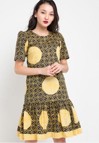 Vestiti black and yellow and multi Maharani Kawung Dress 19E21AA5CAF392GS_1
