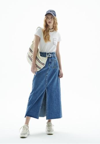iROO blue Denim Midi Skirt 95788AA188792DGS_1