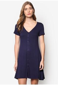 【ZALORA】 基本款鈕扣短袖連身裙