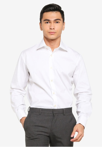 Sacoor Brothers white Regular fit super comfort easy iron shirt D5296AA8BCA8C6GS_1