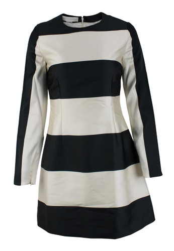 STELLA MCCARTNEY black and beige Pre-Loved Black and Off-White Silk and Cotton Stella McCartney Long-Sleeved Knee-Length Dress with Striped Pattern 68077AA74403ACGS_1