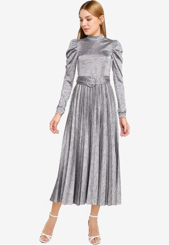 TOPSHOP grey Grey Premium Pleated Midi Dress 8422BAA3B99D4EGS_1