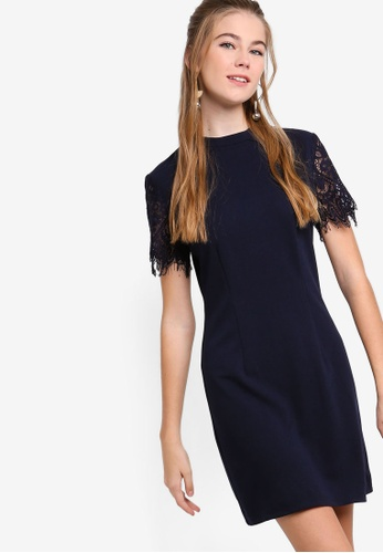 Something Borrowed navy Lace Raglan Sleeves Shift Dress 7379EAA8CFA82AGS_1