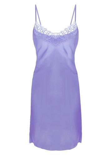 SMROCCO purple Isla Silk Spagetti Strap Dress Nightie Sleepwear PM8056-P A2556AAF756E2FGS_1