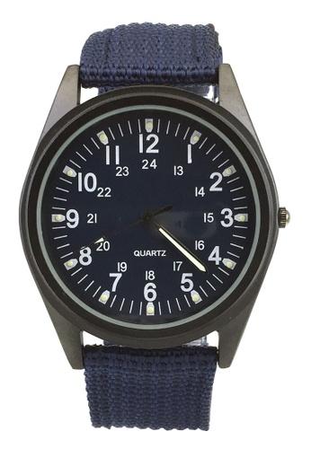 Chronomart black and blue Orkina Men's Nylon Fabric Strap Amy Style Wrist Watch CH783AC77WKOPH_1