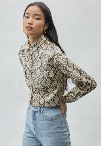 Pomelo brown Snake Print Long Sleeve Jacket - Brown 87A02AA04D18F7GS_1