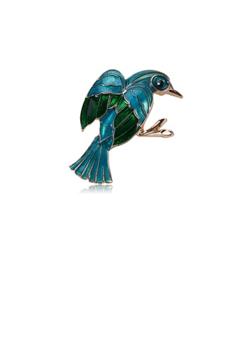 Glamorousky silver Fashion Cute Blue Bird Brooch 8EEDBACB4B3144GS_1