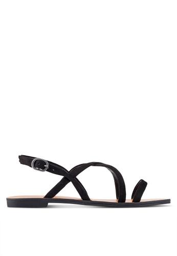 ZALORA black Faux Leather Multi Strap Sandals 89143SH8C68874GS_1