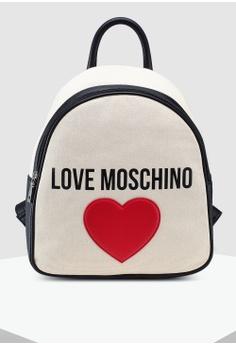 e337f79f32a5 Love Moschino white Canvas Zip Around Backpack C2386AC0DE71D2GS 1
