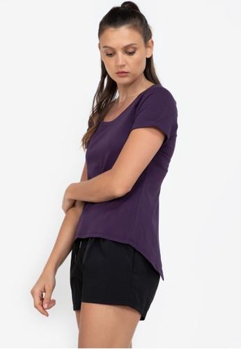ZALORA ACTIVE purple Open Back Slit Short Sleeve T-Shirt FDC6BAA04B9DBFGS_1