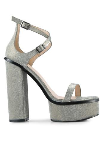 Public Desire black and grey Louisiana Strappy Platform Heels PU378SH0SIQ0MY_1