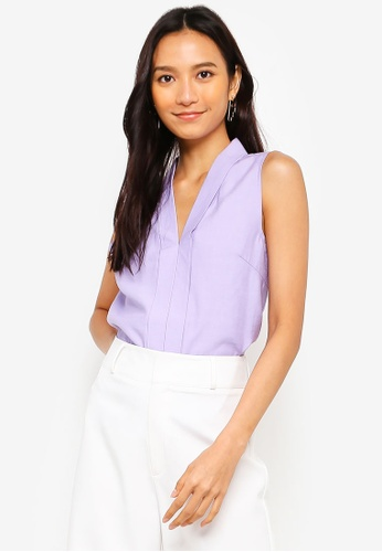 ZALORA 紫色 V領無袖上衣 B6F32AA9BD434BGS_1