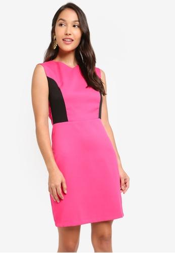 ZALORA 黑色 and 粉紅色 無袖洋裝 9A96FAA15C1EF6GS_1