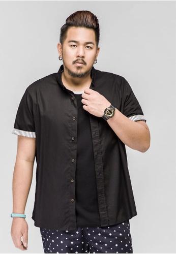 584d5d9fd545b JSMIX black Plus Size Singapore-Plain Short Sleeve Men s Plus Size Shirt  76FD5AAB6F7378GS 1