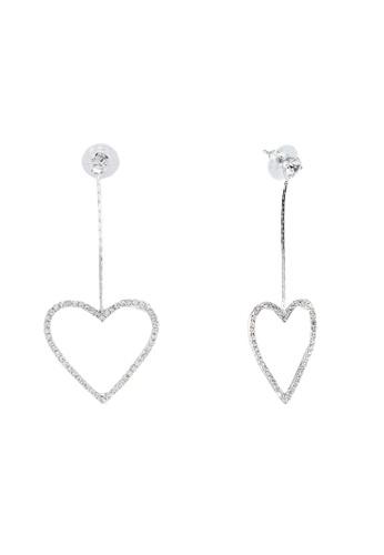 Dandelion 銀色 垂墜心形鑽飾耳環 9B7C4ACD584E6BGS_1