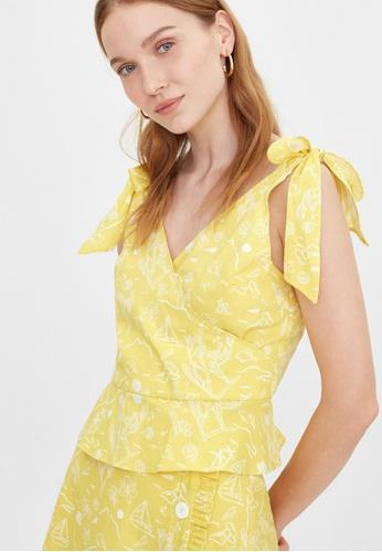 Pomelo yellow Purpose Beach Print Bow Tie Tank - Yellow 56CBCAA88FA610GS_1
