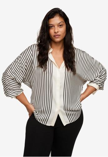 Violeta by MANGO white Plus Size Satin Striped Shirt 2B40CAAB605E8DGS_1