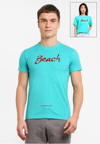 Summerism green Beach Typo Tee - Mint D92F8AADF59B50GS_1