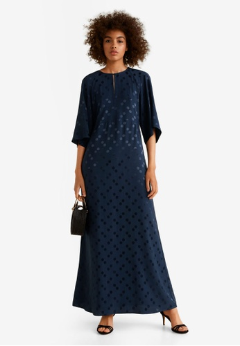 Mango blue Polka-Dot Textured Dress B093CAABD75E3EGS_1