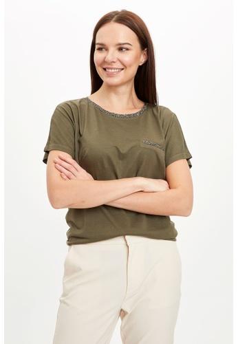 DeFacto green Woman Knitted Short Sleeve T-Shirt CFB20AAB9316DAGS_1