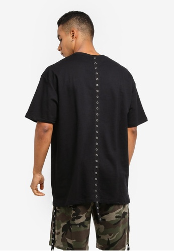 Flesh IMP 黑色 Skurge Eyelet Tape Oversized T-Shirt 372D9AA67B91D9GS_1
