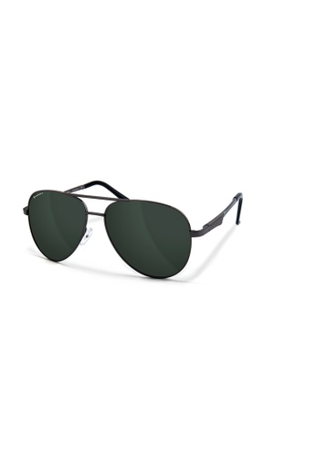 Sensolatino Eyewear black and grey and brown and red and pink and orange and yellow and blue and purple and silver and beige and gold and navy Sensolatino® Series Aviano Large Silver Frame With Green Polarized Lenses 99C61GL905390DGS_1