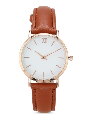 NUVEAU brown Round Face Gold White And Brown Strap Watch 14B23AC1183E05GS_1