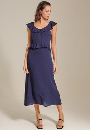 Dressing Paula navy Ruffled Chiffon Maxi Dress D35FBAA3ED90B3GS_1