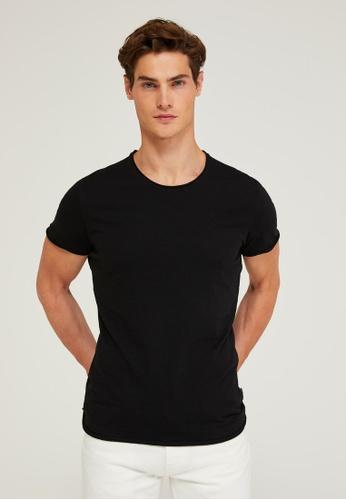 Sisley black Regular Fit Crew-neck T-shirt D3549AAAE87CD7GS_1