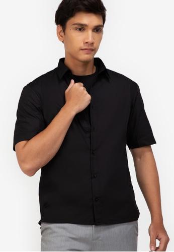 ZALORA BASICS black Drawstring Short Sleeve Shirt 01CEDAA9F6D29EGS_1